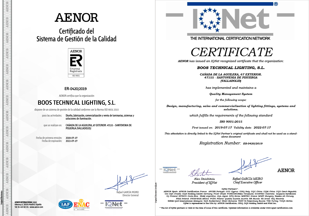 Our production site in Valladolid complies with the requirements of ISO 9001: 2015 standard